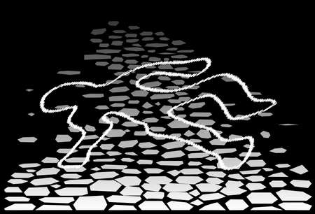 A body outline on a cobbled street with a black background