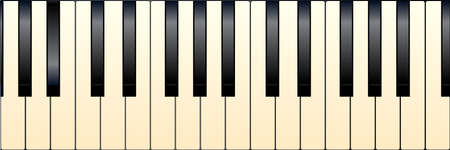 forte: Black and white piano keys with a tint of age