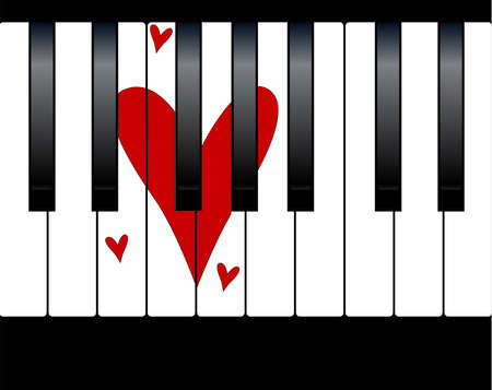 Black and white piano keys with a large love heart within the keys Vector