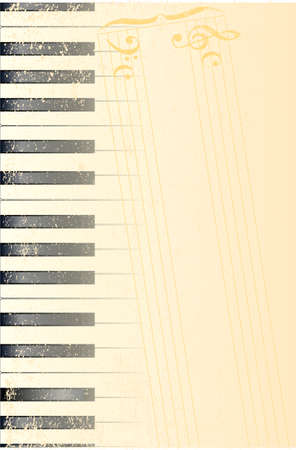 fx: Black and white piano keys with a heavy grunge FX