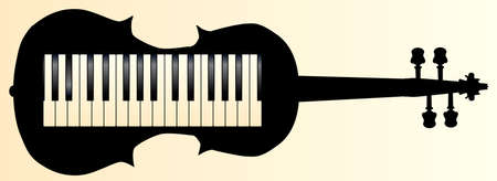 A piano keybboard set into a violin silhouette Vector