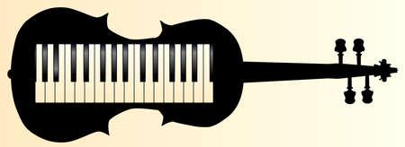 forte: A piano keybboard set into a violin silhouette