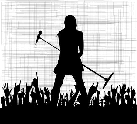 the vocalist: A grungy background with the silhouette of a female performer  Illustration