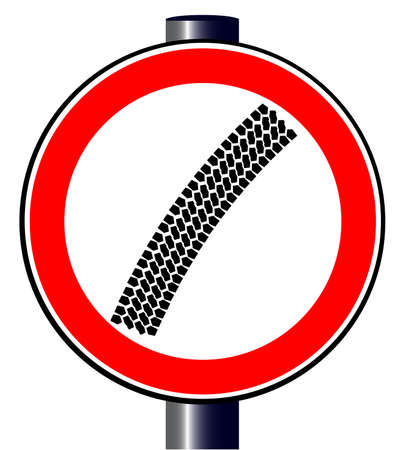 spoof: A spoof trafic sign with a tyre track accross the centre