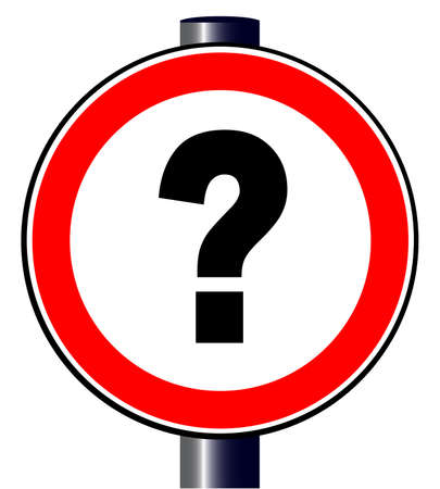 spoof: A spoof trafic sign with a large question mark across the centre