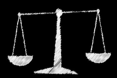A pair of scales drawn onto a blackboard with white chalk Vector