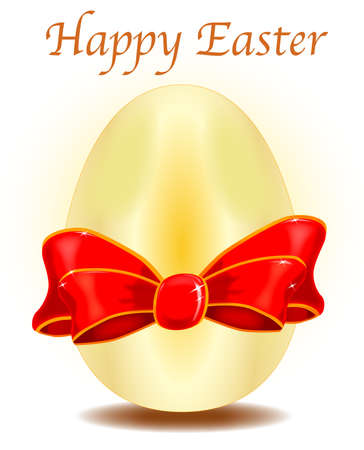 A gold Easter egg with a red silk bow and a Happy Easter message Vector