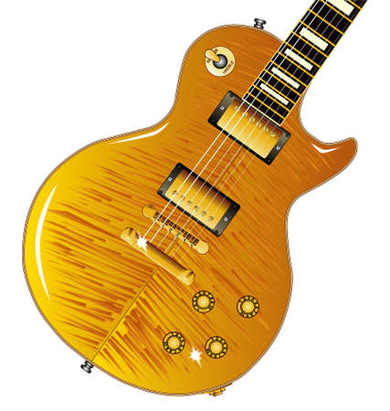 gibson: The definitive rock and roll guitar with a maple tiger top isolated over a white background