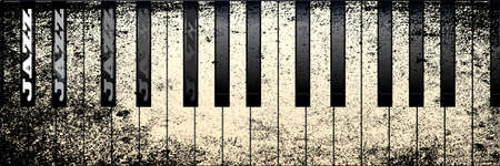Piano keys in a grunge style with the legend JAZZ on several black keys Vector