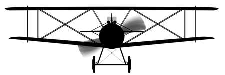 A WWI RFC fighter plane in silhouette Vector