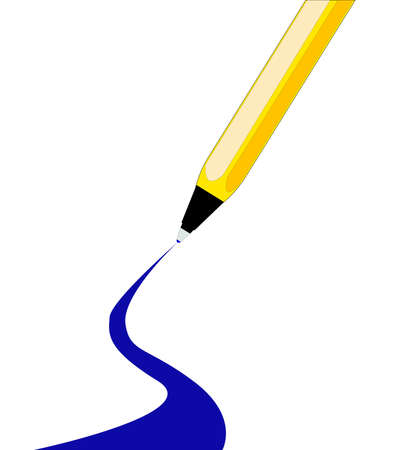 A blue ink ball point pen with a curbed line getting wider towards the bottom of the page