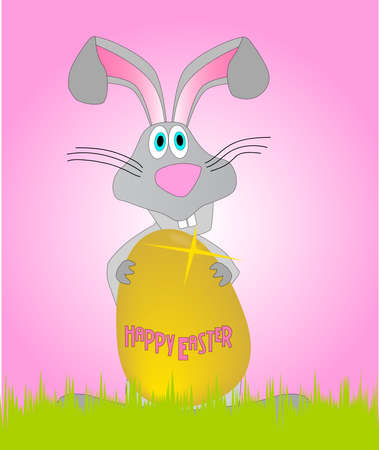 The Easter Bunny with a large golden Easter Egg Vector