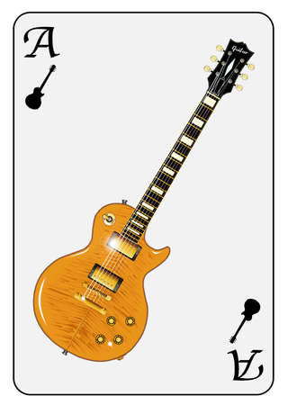 gibson: A guitar used as the ace motif in a playing card