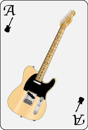A guitar used as the ace motif in a playing card