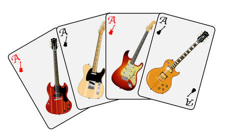 telecaster: A good hand of guitar aces isolated over a white background Illustration