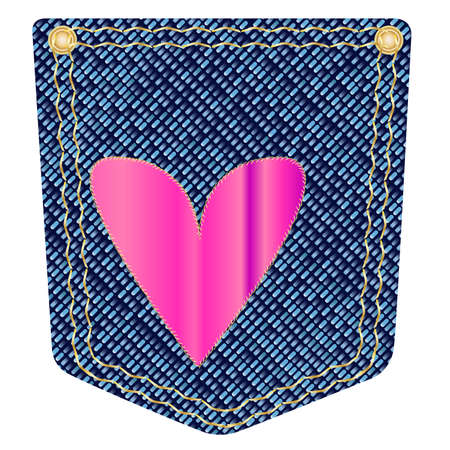A blue denim pocket with copper studs and a heart emblem Vector
