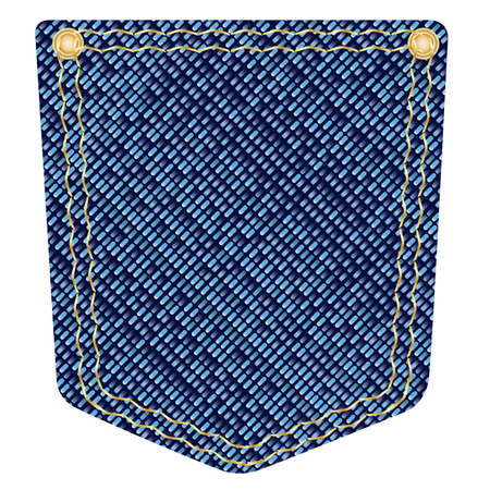 textile fabrics: A plain blue denim pocket with copper studs over a white background Illustration