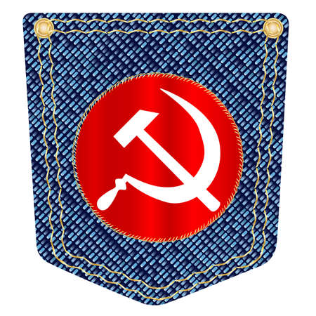 wrangler: A plain blue denim pocket with copper studs and a Russian flag over a white background