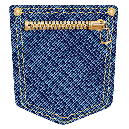 wrangler: A plain blue denim pocket with copper studs and a zipper over a white background Illustration
