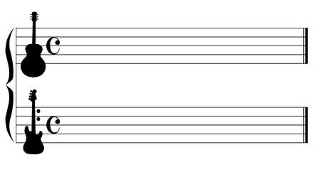 semiquaver: Musical staves utilising a guitar and bass guitar as the treble and bass motifs
