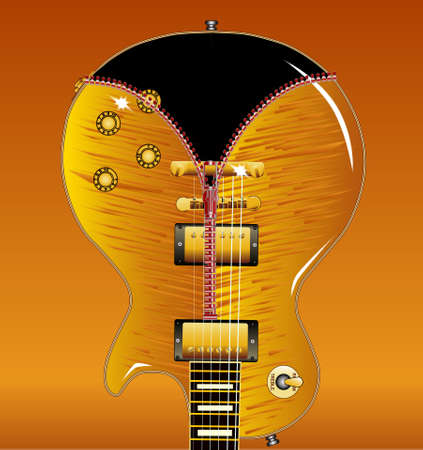 gibson: The definitive rock and roll guitar with a maple tiger top being unziped to show a black guitar within Illustration