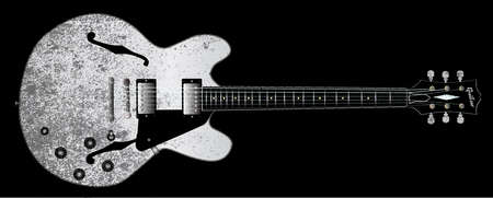 gibson: A white jazz semi electric guitar set into a black grunge style Illustration