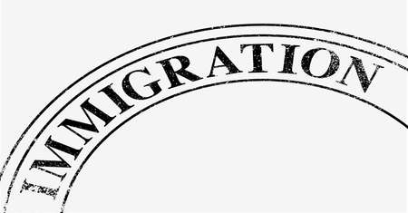 Part of the immigration stamp with worn print Vector