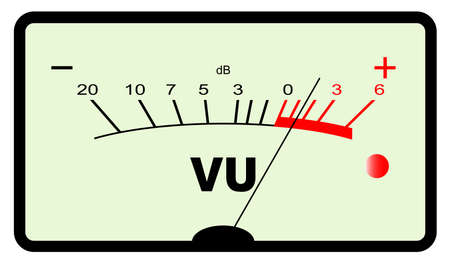 decibels: A typical analogue audio meter as found on old tape recorders