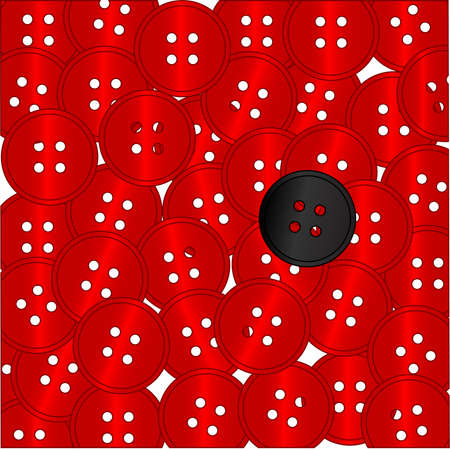 conformist: A collection of red buttons with the odd one out being black