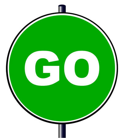 The go green traffic sign isolated over a white background