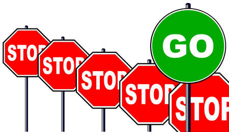 one sided: Severa; octagonal stop signs and one large green go sign isolated over a white background