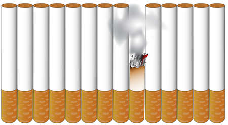 A few cigarettes standing in line with one burning away all isolated over a white background Stock Vector - 27234477