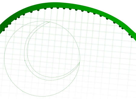 gut: A faded tennis racket with a tennis ball outline in green Illustration