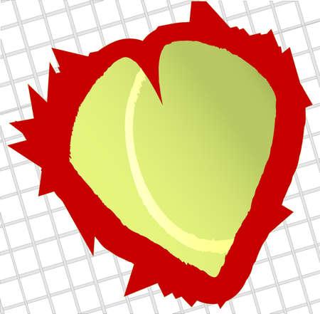 gut: An abstract love tennis image of a heart shaped tennis ball Illustration