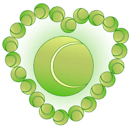 A group of tennis balls formed into the shape of a love heart isolated over a white backgroundA tennis ball sitting on the grass  Vector