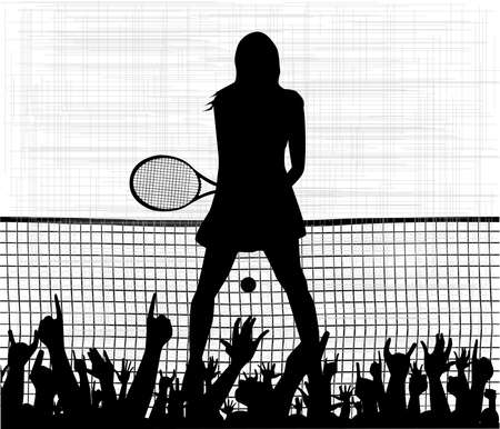 A grungy background with the silhouette of a female tennis player with racket and bouncing ball all over a white background Vector