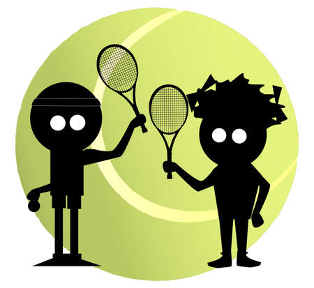 Silhouette of a cartoon character and his girlfriend setting of to a game of tennis Vector