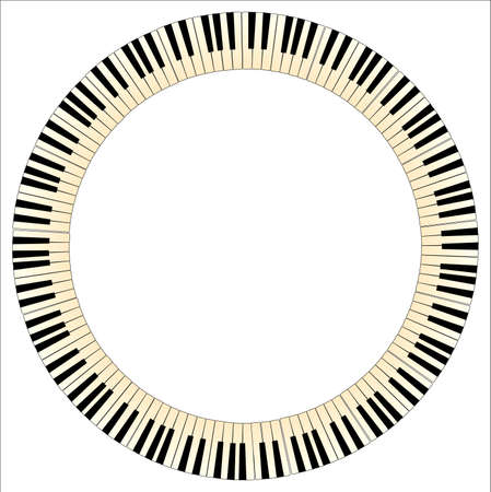 upright piano: Black and white piano keys with a tint of age formed into a circle Illustration