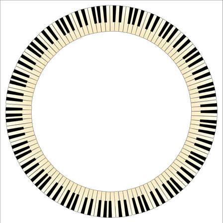Zwarte en witte piano toetsen met een tint van leeftijd gevormd in een cirkel Stock Illustratie