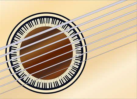 A guitar soundhole created from a circle of piano keys Vector