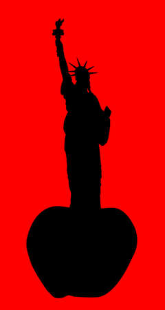 New York, the big apple with the Statue of Liberty Vector