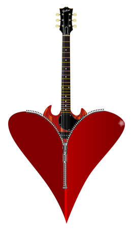 gibson: A red heart with a zipper showing a guitar rising from within
