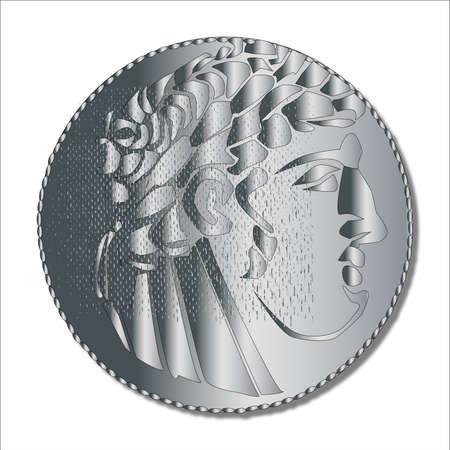 betray: Una sola moneda de plata shekel que se utiliza en la �poca del Imperio Romano y, supuestamente tomada por Judas para traicionar a Jes�s Cristo Vectores
