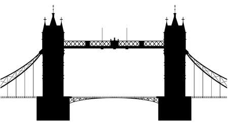 london tower bridge: A silhouette of London Tower Bridge isolated over a white background