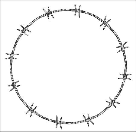 A section of barbed wire fencing isolated on a white background