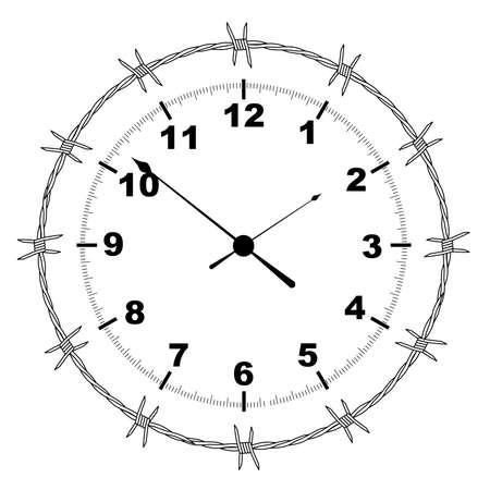 Typical clock face with a barbed wire surround isolated on white