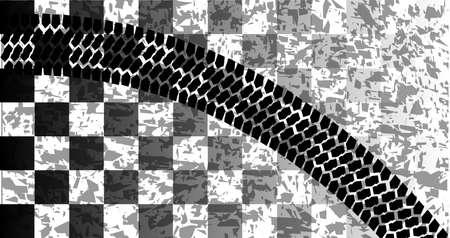 어두운 배경에 타이어 스키드 마크와 체크 무늬 깃발을 경주