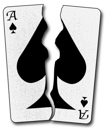 The ace of spades playing card torn in half and isolated on a white background Vector