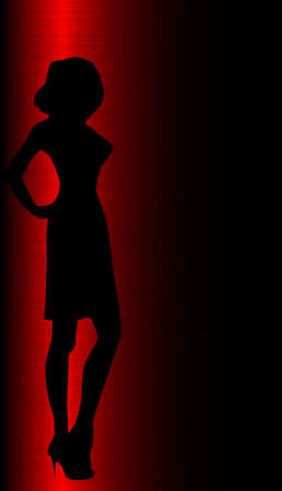 Silhouette of a sexy lady surrounded in red grunge Vector