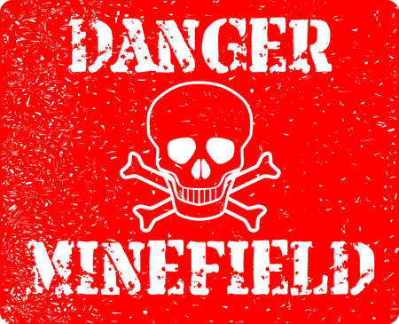 The sign from a typical minefield isolated over a white background Ilustração